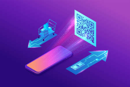 QR code pay isometric infographics with phone reading tag, smartphone scanning label, online payment concept, 3d vector illustration of mobile application
