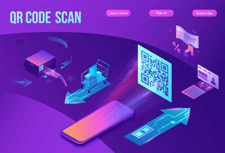 QR code scan isometric infographics with phone making payment, smartphone log in to account, generates url of website, online pay concept, 3d vector illustration of mobile application Иллюстрация