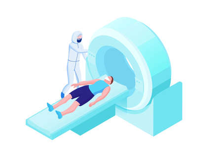 Mri scanning of 2019-nCoV Coronavirus patient, isometric 3d vector illustration with magnetic tomograhpy technology, doctor in white medical face mask, x-ray with pneumonia
