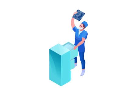 Mri scanning of 2019-nCoV Coronavirus patient, isometric 3d vector illustration with doctor in white medical face mask watching x-ray with pneumonia