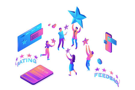 Feedback concept with 3d isometric star icon, customer rate product, client satisfaction survey, people review quality of service, purple vector illustration