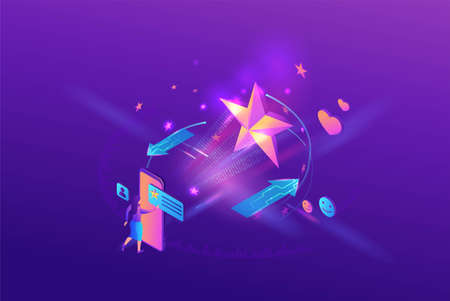 Customer review products, mobile app for rating, client upload feedback by smartphone,purple isometric vector illustration