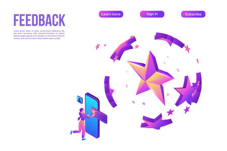 Customer review products, mobile app for rating, client upload feedback by smartphone,purple isometric vector illustration, landing page template