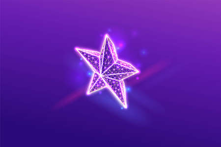 Star 3d isometric neon icon, wireframe low poly symbol with light and glow, purple abstract futuristic background