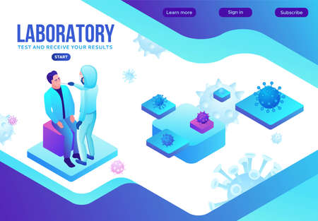 Covid-19 nasal swab test, isometric medical concept, Coronavirus vector icon, people in mask in laboratory, modern design, infographic illustration, landing page template