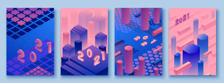 Abstract violet isometric posters set in trendy purple color with geometric 3d shapes, brochure collection, futuristic background, colorful bright vector illustration, cover, print Çizim