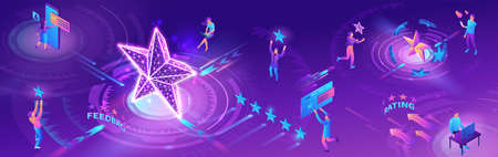 Feedback horizontal banner with 3d isometric star icon, customer rate product, client satisfaction survey, people review quality of service, purple vector illustration