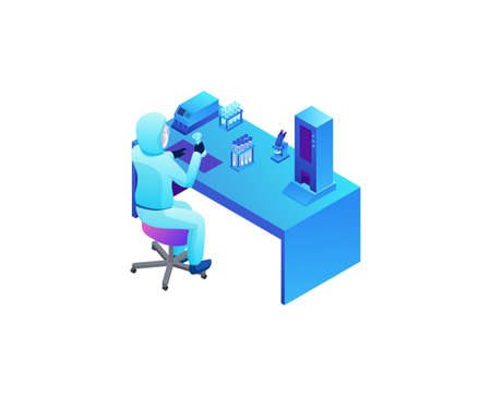 Isometric laboratory with scientist in protective suit doing test of Coronavirus, Covid-19 research, lab equipment, medical exam, diagnostic clinic, doctor in face mask, isometric vector illustration
