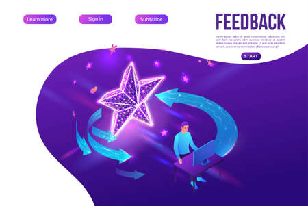 Feedback concept with 3d isometric star icon, customer rate product, client satisfaction survey, people review quality of service, purple vector illustration, landing page template