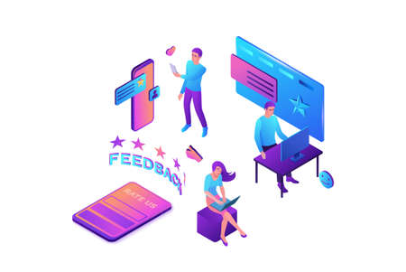 Feedback concept with 3d isometric star icon, customer rate product, client satisfaction survey, people review quality of service, vector illustration
