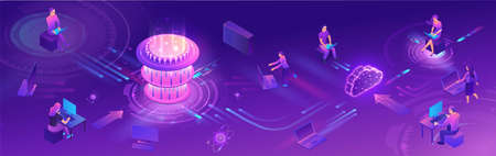 Quantum computer horizontal banner, futuristic processor, chip with network, isometric vector illustration, glowing purple design, innovation cloud computing technology Çizim