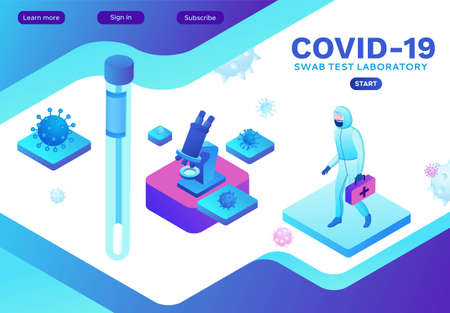Isometric laboratory with scientist in protective suit, Coronavirus test, Covid-19 research, lab equipment, medical exam, diagnostic clinic, doctor in face mask, isometric vector illustration