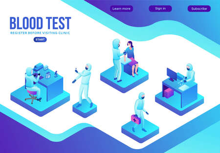 Covid-19 blood antibody test, isometric medical concept, Coronavirus vector icon, people in mask in laboratory, modern design, infographic illustration, landing page template Çizim