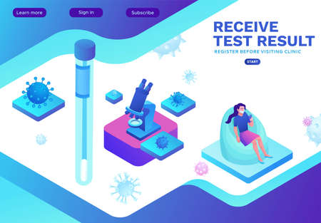 People receive test result from the laboratory, Covid-19 lab, Coronavirus medical research, patient in face mask, isometric vector illustration, landing page template