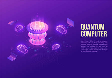 Quantum computer futuristic processor, chip with network, isometric vector illustration, glowing purple design, innovation cloud computing technology