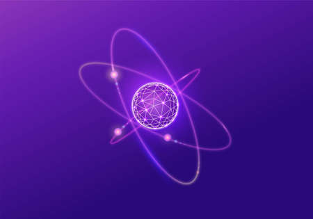 Quantum low poly wireframe icon, 3d vector physics symbol, neon glowing polygon illustration, good for futuristic concept