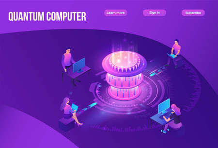 Quantum computer futuristic processor, chip with network, people work on laptop, isometric vector illustration, glowing purple design, innovation cloud computing technology