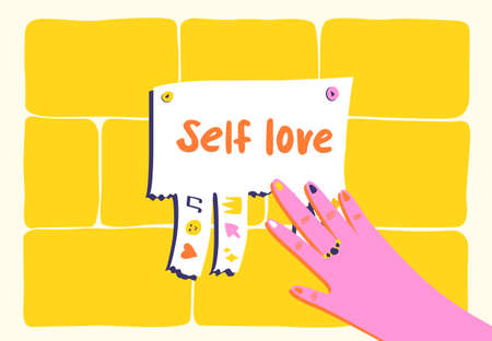Colorful advertisement about self love. Vector Illustration Vetores