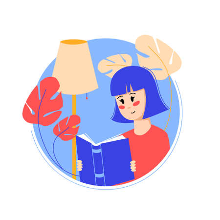Woman reading book. Colorful vector illustration