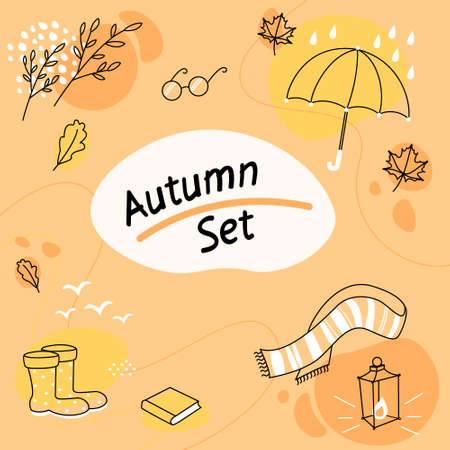 Autumn set with leaves, scarf, umbrella, glasses, book. Colorful vector illustration Illustration