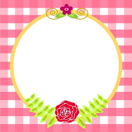 rosy: Flower Greeting Card Template with Plaid Background