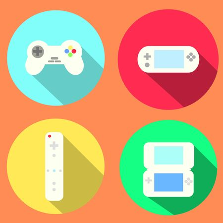 high society: Portable and Video Games Flat Icons Illustration