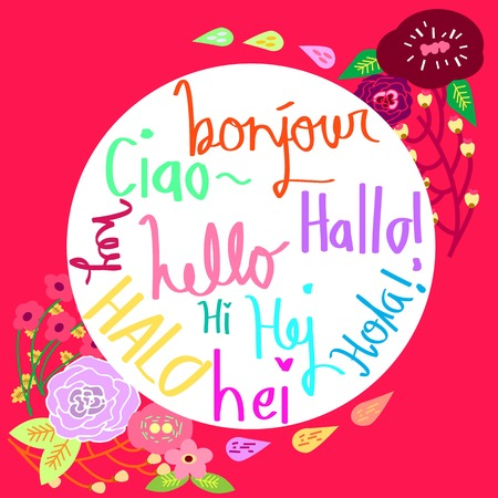 bonjour: Hey in Different Languages Typography