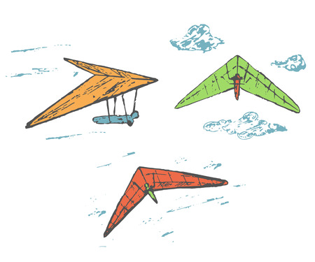 delta: Hand drawn sketch hang glider, delta plane collection with clouds and pilots. Hang glider icon, banner.