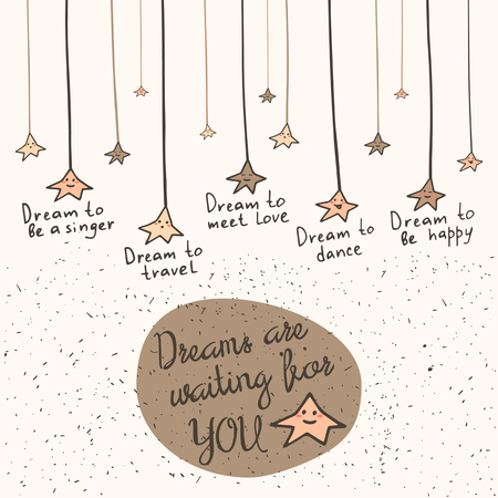sing: Cute hand drawn doodle card, brochure, postcard with dream stars on the strings and text space. Motivating, inspiration background