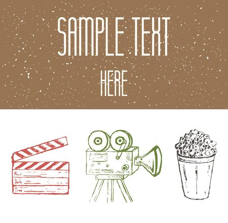 clap board: Hand drawn sketch movie card, background, brochure, banner, icon with vintage camera, pop corn, clap board and rough texture