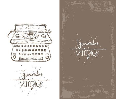 Hand drawn sketch typewriter card, brochure, icon, banner. Vintage style background