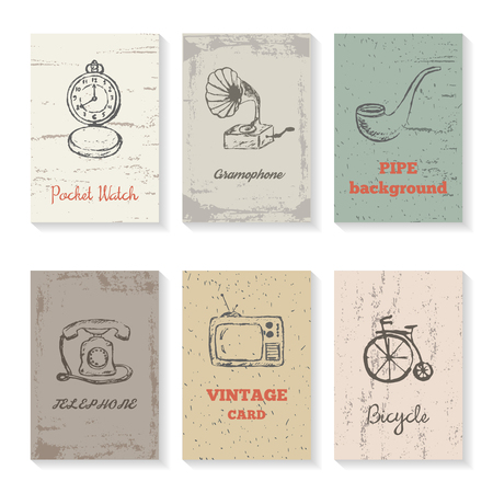 vintage telephone: Set of vintage cards, brochures with sketch pocket watch, gramophone, smoke pipe, telephone, television