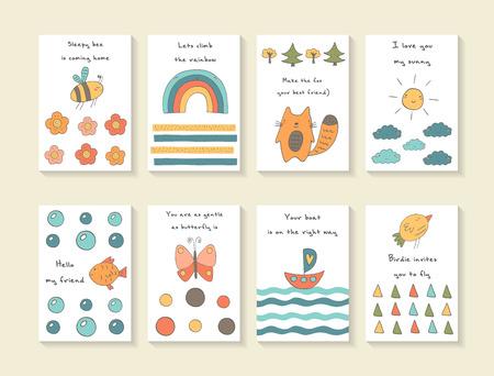 papillon: cartes mignonnes dessin�s � la main doodle baby shower, brochures, invitations avec abeille, fleurs, arc en ciel, le renard, les arbres Illustration