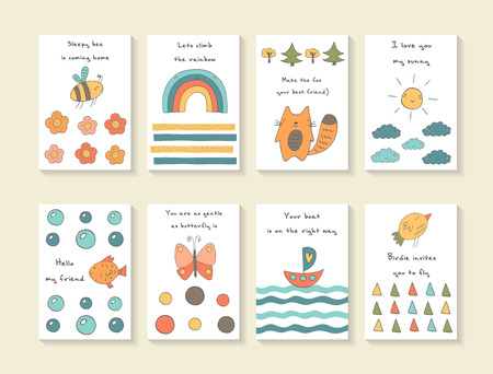 Cute hand drawn doodle baby shower cards, brochures, invitations with bee, flowers, rainbow, fox, trees Illustration