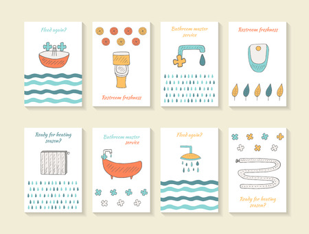 toilet: Cute hand drawn doodle card, brochures, covers with bathroom, restroom, toilet equipment Illustration