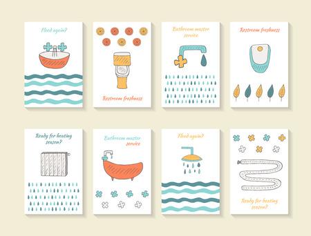 toilete: tarjeta de bosquejo dibujado mano linda, folletos, cubre con cuarto de ba�o, lavabo, inodoro equipos