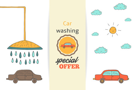 dirty car: Hand drawn doodle car washing banner, background, brochure with dirty car before shower and clean car after washing, with sun and clouds. Text space card