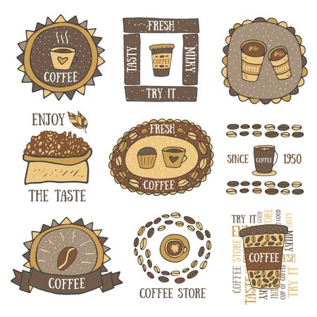 go to store: Cute hand drawn doodle coffee banner, logo, icon, advertisement including cup, muffin, bag with coffee and leaf, coffee beans, coffee to go, coffee store