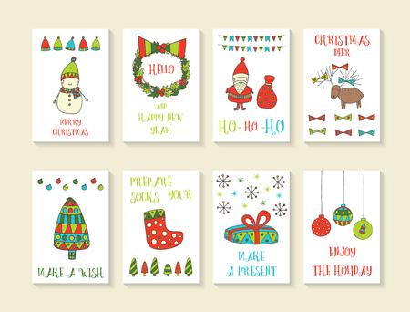 cute hand drawn doodle christmas cards brochures postcards with snowman wreath santa - Deer Christmas Cards