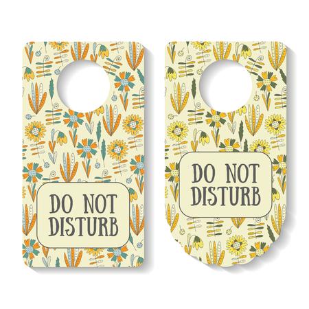 door handle: Do not disturb banner for door interior with nature elements pattern including flowers, leaves, berries, plants. Door handle creative doodle sign Illustration