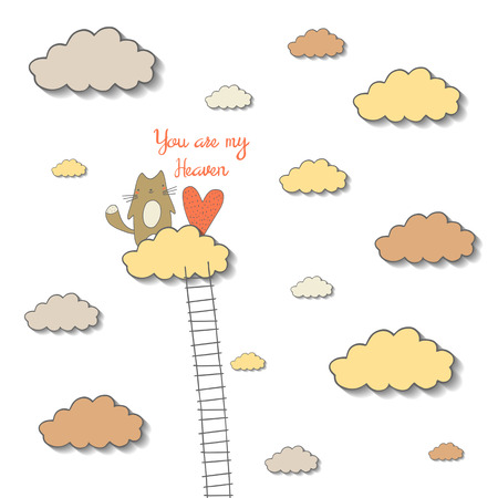 motivating: Cute hand drawn doodle motivating, inspiration card, postcard about feelings, love and friendship with heart, ladder and cat on the cloud