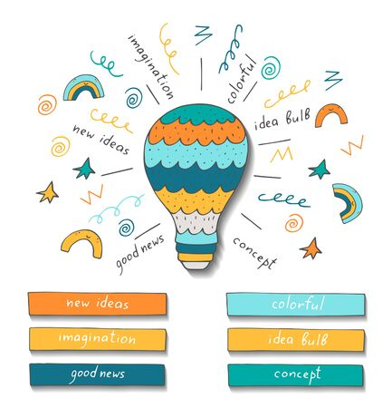 conceptual bulb: Doodle hand drawn bulb showing new ideas, inspiration, good news, positive waves, Conceptual vector image with bulb and text spaces