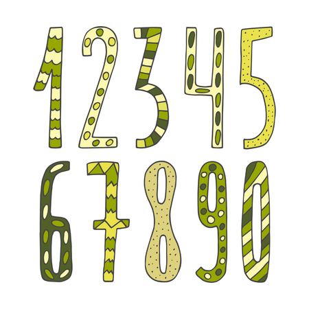 Hand drawn cute doodle mathematics numbers collection