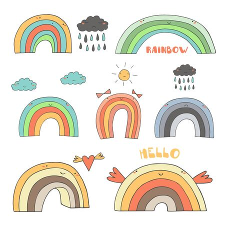 green day baby blue background: Cute hand drawn doodle rainbow collection including rainbow with clouds, sun, heart, rainy cloud, girly bows, funny wings, sad rainbow. Rainbow, weather, icon, banner, logo in cartoon childish style