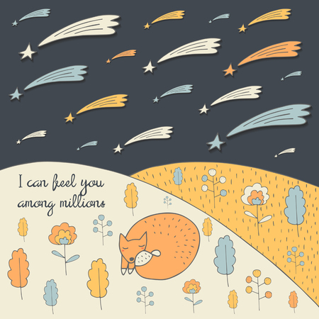 leaves falling: Cute hand drawn doodle card, brochure, cover with orange fox, flowers, leaves, falling stars, forest nature elements and text space. Motivating quote postcard about feelings, love and friendship Illustration