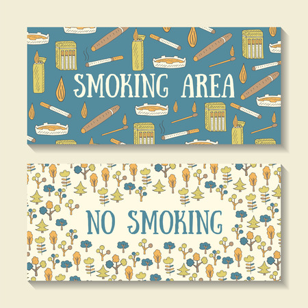smoking place: Hand drawn doodle smoking area and no smoking signs with cigarette, fire, cigarette lighter, ashtray, cigar, cigarette pack, trees, flowers.