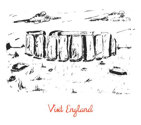 stonehenge: Hand drawn stonehenge sketch card, brochure. Travel, tourist postcard
