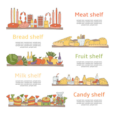 fruit cake: Hand drawn doodle supermarket shelves with products including meat, bread, milk, fruits, candy, yoghurt, baguette