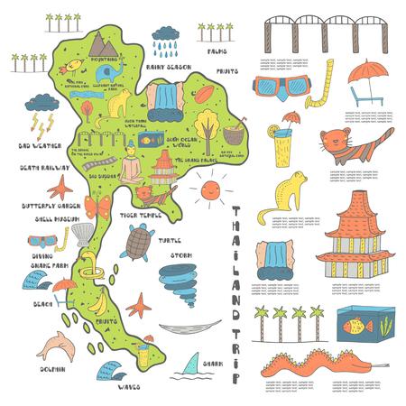 Carino disegnato a mano Doodle mappa Thailandia con oggetti tra cui Buddha, tempio, oggetti del tempo, la tigre, l'elefante, cascata Vettoriali