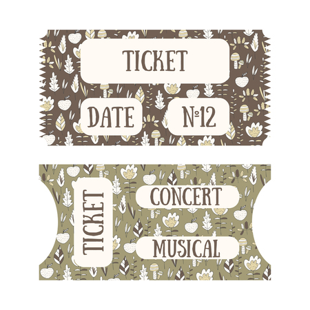 show plant: Hand drawn doodle tickets with floral design in vintage style. Tickets for cinema, concert, museum, exhibition Illustration